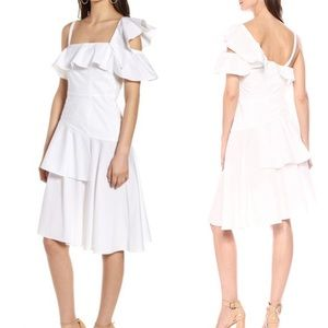 Kendall and Kylie white one shoulder ruffle dress